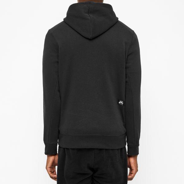 nike sb swoosh embroidery hoodie black