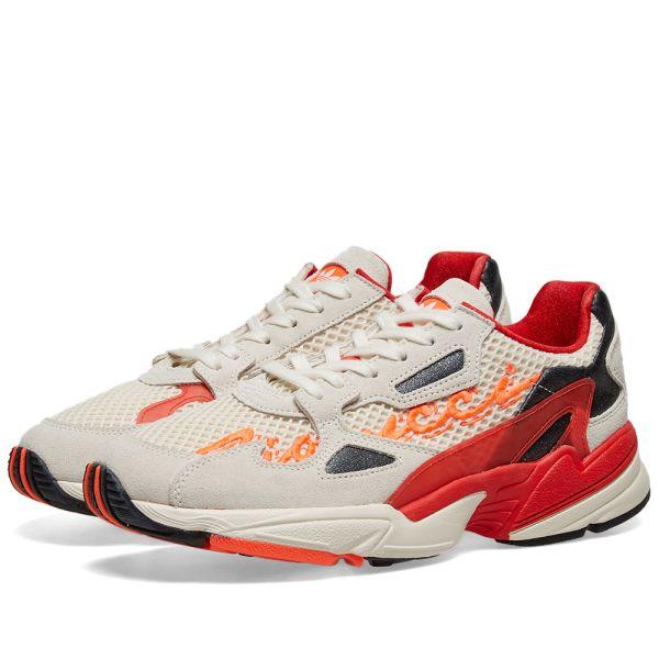 Adidas x Fiorucci Falcon W Off White, Red, Orange & Black | END.