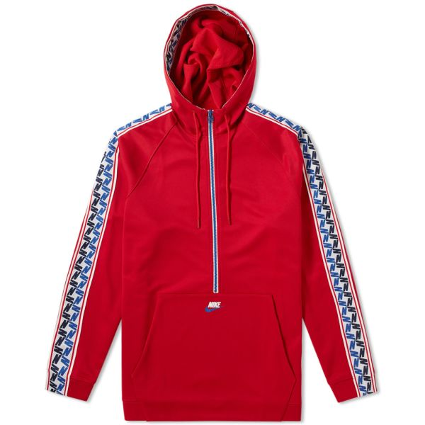 nike nsw taped half zip hoodie poly