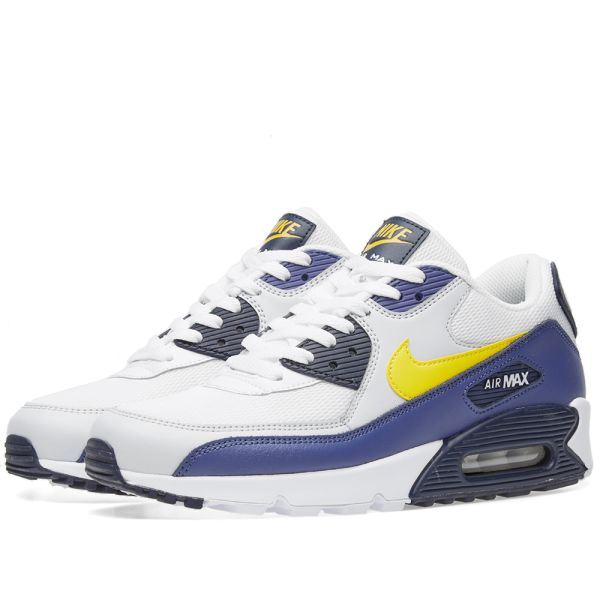 nike air max 90 essential white blue yellow