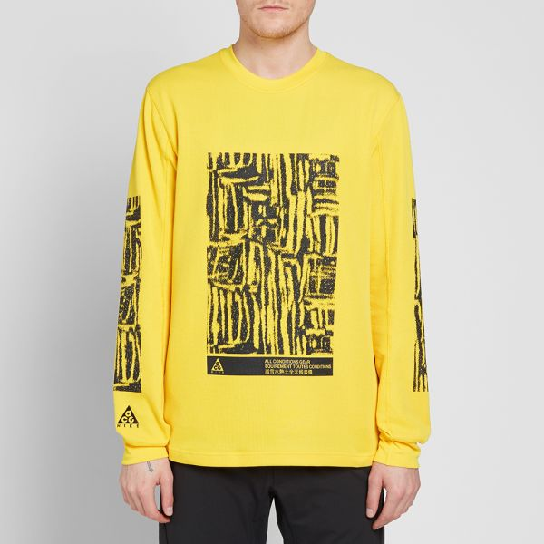 Latest Nike ACG Long Sleeve Mens Waffle Top Yellow