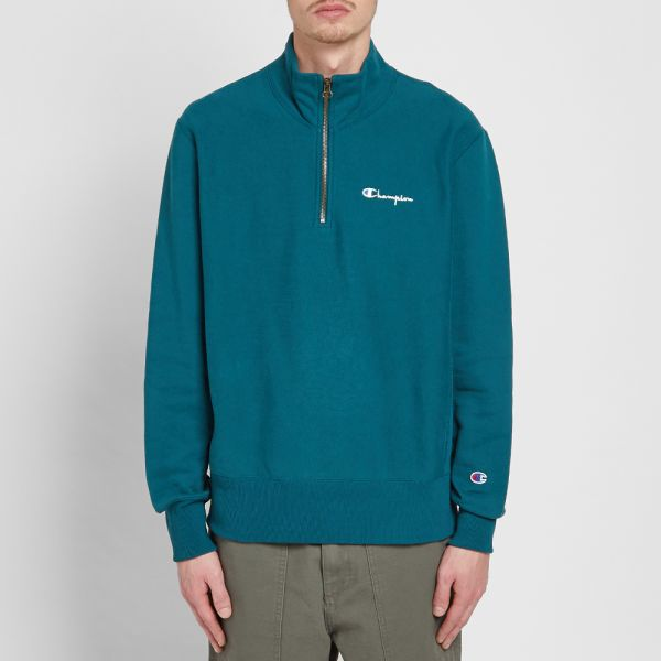 Teal Champion Reverse Weave Half Zip Sweatshirt