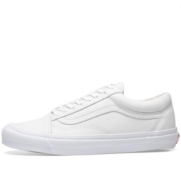 all white slide in vans
