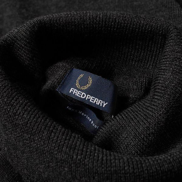 Fred Perry Classic Merino Roll Neck Sweater Charcoal Marl