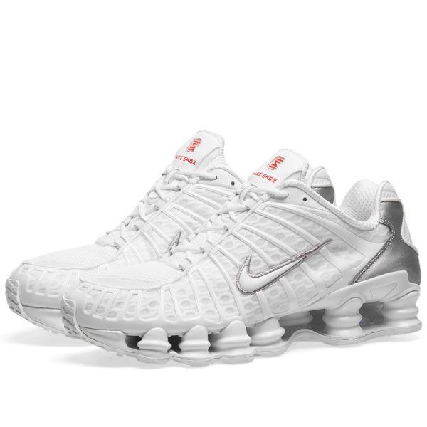 Inodoro Primero mental  Nike Shox TL White, Silver & Max Orange | END.