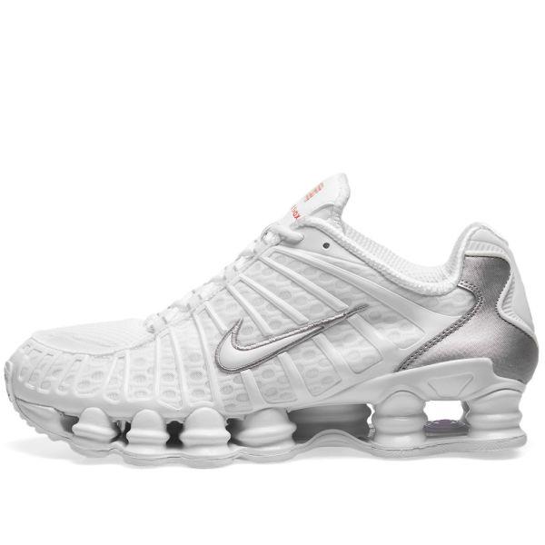 Nike Shox TL White, Silver & Max Orange | END.