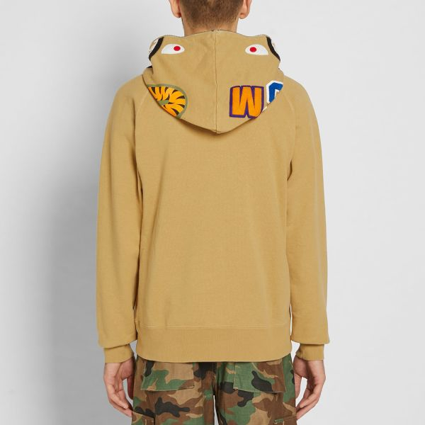 A Bathing Ape Vintage Wash Half Zip Shark Hoody