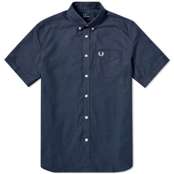 "Light Smoke Classic Oxford Shirt Short Sleeve XL 46"" Fred Perry"