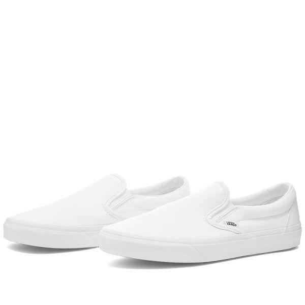 slip on vans all white
