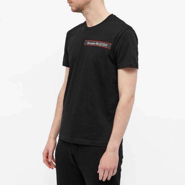 Details about  /NEW Alexander mcqueen t-shirt logo tape 642662 QQX74 Black AUTHENTIC NWT
