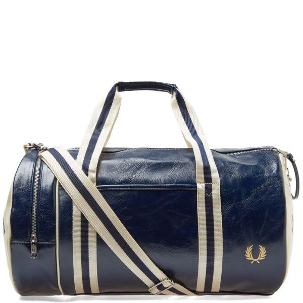 Gym L3330-635 Holdall Fred Perry Bags Navy Classic Barrel Bag Ecru