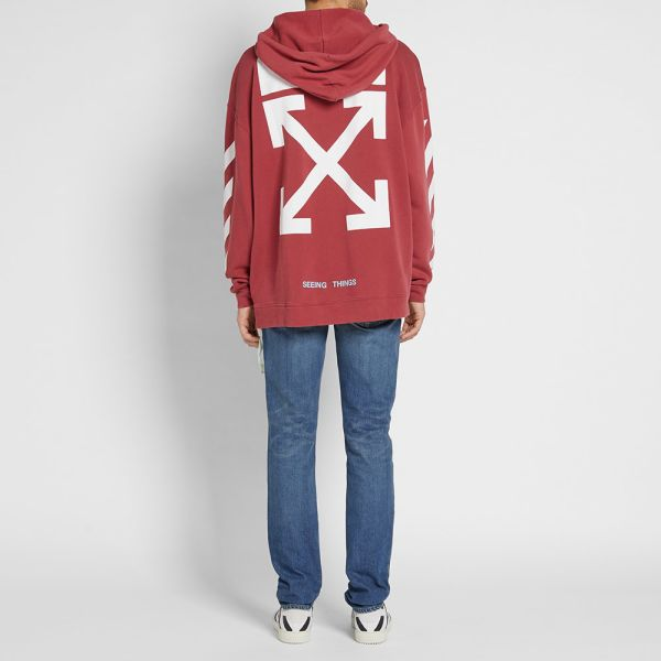 Details about NEW Off White Diagonal Arrows Seeing Things Hoodie