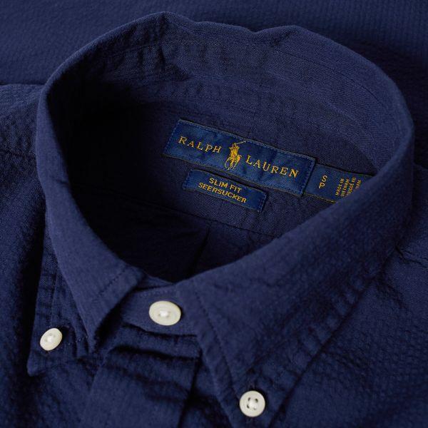 Polo Ralph Lauren Short Sleeve Seersucker Shirt Navy End