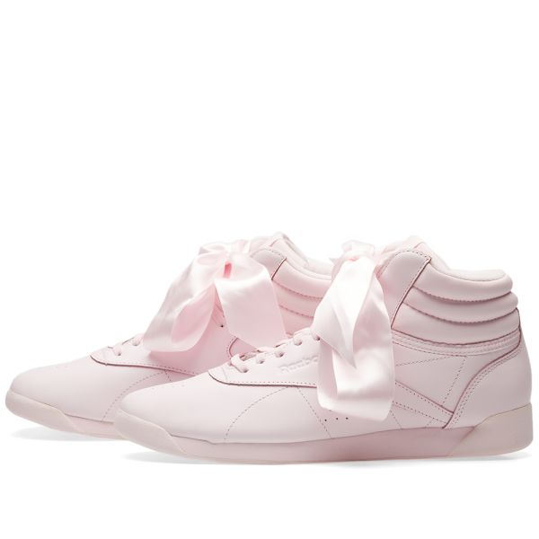 Reebok Freestyle HI Satin Bow Best Price Online Pink Grey