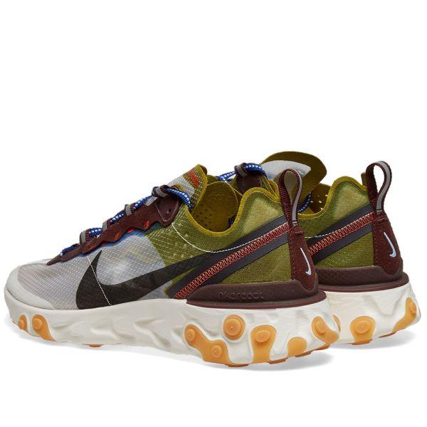 sol Aprobación Recitar  Nike React Element 87 Moss, Black, Blue & Orange | END.