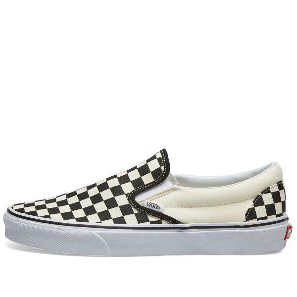 vans checkerboard slip on black and white