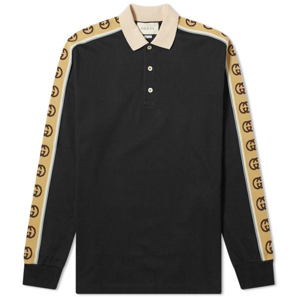 Gucci Long Sleeve Taped Logo Polo Shirt