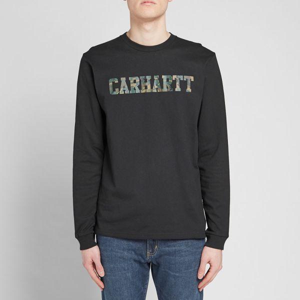 Carhartt Wip College T Shirt Navy Blue White Tee Long Sleeve Streetwear