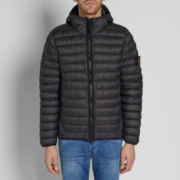 half off pretty cheap get new Stone Island Garment Dyed Micro Yarn Hooded Down Jacket Black | END.