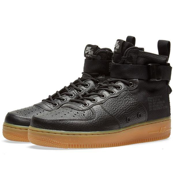 nike air force 1 black gum sole
