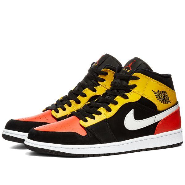 Air Jordan 1 Mid Se Black Orange White End