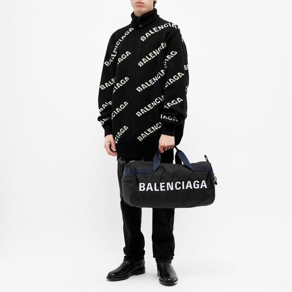 Balenciaga Logo Gym Bag Black \u0026 Navy | END.