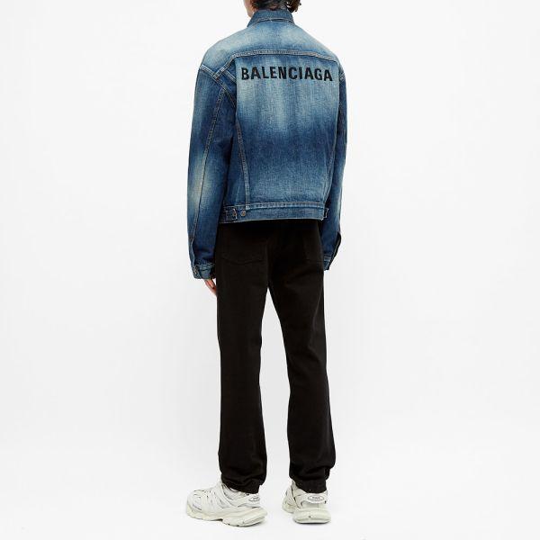 Remolque Sobriqueta lotería  Balenciaga Embroidered Logo Denim Jacket Fake Wash Blue | END.