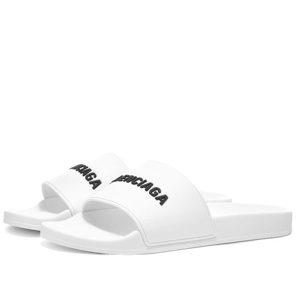 Balenciaga Logo Pool Slide White Black
