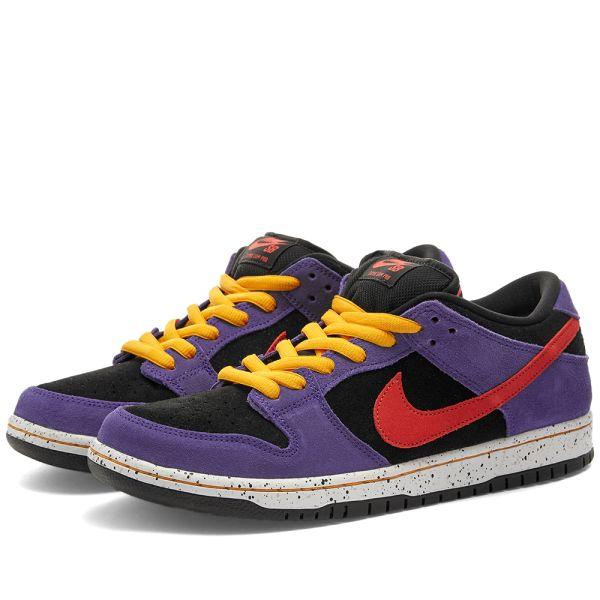 suerte negro Abreviar  Nike SB Dunk Low Pro Black, Sunburst & Purple   END.