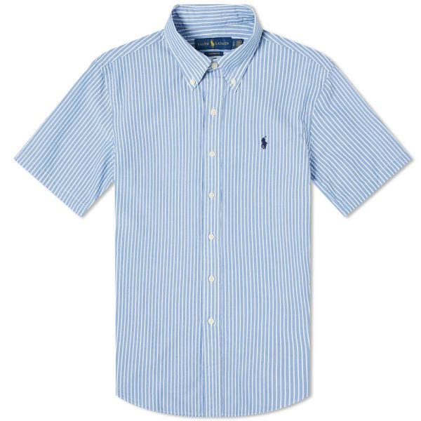 Polo Ralph Lauren Short Sleeve Slim Fit Striped Seersucker Shirt